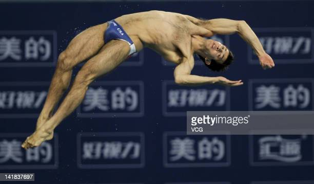 Nick McCrory of USA competes in the Men's 10m Platform Final during day two of the FINA Diving World Series Beijing Station at the National Aquatics...