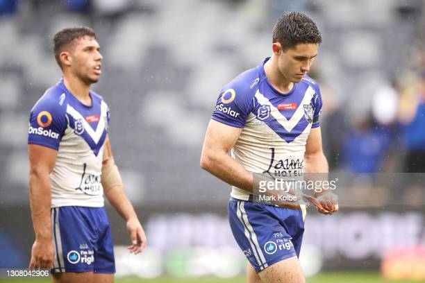 Nick Meaney of the Bulldogs looks dejected after defeat during the round two NRL match between the Canterbury Bulldogs and the Penrith Panthers at...