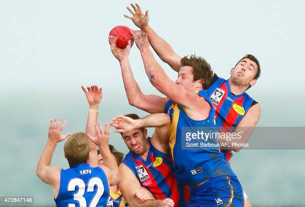 Nick Meese of Williamstown competes for the ball during the round four VFL match between Williamstown and Port Melbourne at Burbank Oval on May 10...