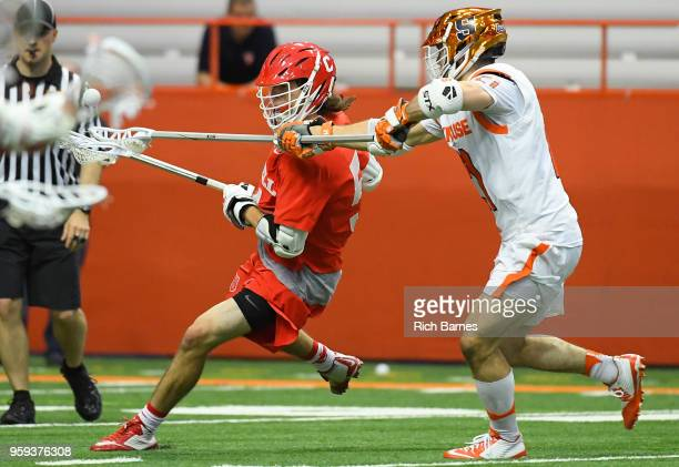 Nick Mellen of the Syracuse Orange checks the ball from the stick of Jeff Teat of the Cornell Big Red during a 2018 NCAA Division I Men's Lacrosse...