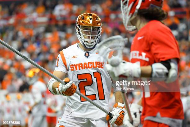 Nick Mellen of the Syracuse Orange defends Jeff Teat of the Cornell Big Red during a 2018 NCAA Division I Men's Lacrosse Championship First Round...