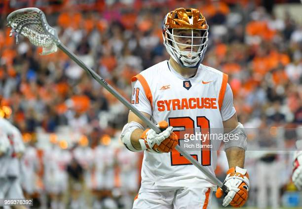 Nick Mellen of the Syracuse Orange looks on against the Cornell Big Red during a 2018 NCAA Division I Men's Lacrosse Championship First Round game at...