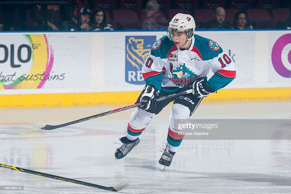 Nick Merkley #10 of Kelowna Rockets skates against the Moose Jaw Warriors on February 14, 2015 at Prospera Place in Kelowna, British Columbia, Canada.