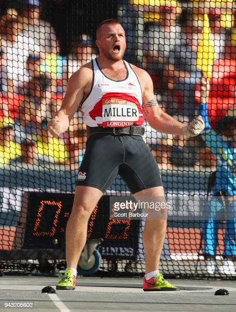 Nick Miller of England celebrates in the Men's Hammer final on day four of the Gold Coast 2018 Commonwealth Games at Carrara Stadium on April 8 2018...