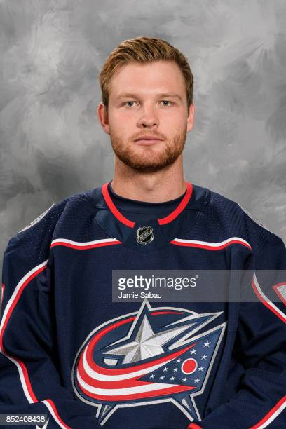 Nick Moutrey of the Columbus Blue Jackets poses for his official headshot for the 201718 season on September 14 2017 at Nationwide Arena in Columbus...