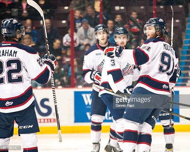 Nick Moutrey of the Saginaw Spirit celebrates a goal against the Windsor Spitfires on March 6 2014 at the WFCU Centre in Windsor Ontario Canada