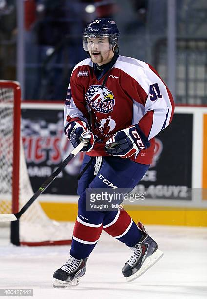 Nick Moutrey of the Saginaw Spirit skates during an OHL game between the Saginaw Spirit and the Niagara IceDogs at the Meridian Centre on December 13...