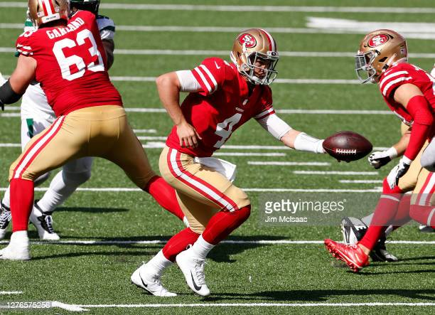 Nick Mullens of the San Francisco 49ers in action against the New York Jets at MetLife Stadium on September 20, 2020 in East Rutherford, New Jersey....