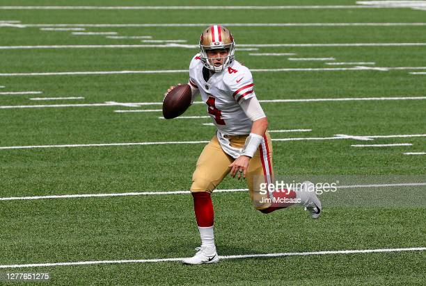 Nick Mullens of the San Francisco 49ers in action against the New York Giants at MetLife Stadium on September 27, 2020 in East Rutherford, New...