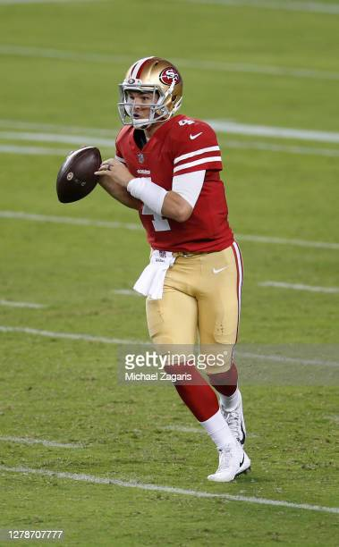 Nick Mullens of the San Francisco 49ers looks for an open receiver during the game against the Philadelphia Eagles at Levi's Stadium on October 4,...