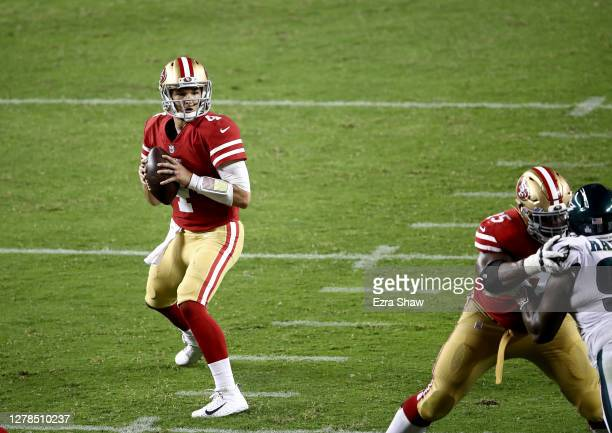 Nick Mullens of the San Francisco 49ers looks to pass against the Philadelphia Eagles in the game at Levi's Stadium on October 04, 2020 in Santa...