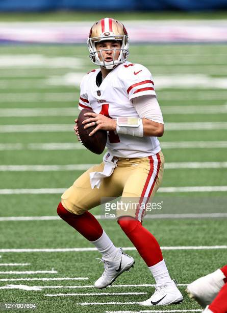Nick Mullens of the San Francisco 49ers looks to pass in the first quarter against the New York Giants at MetLife Stadium on September 27, 2020 in...