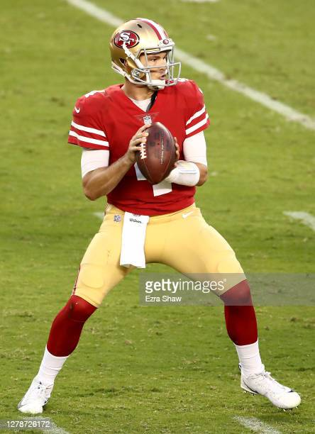Nick Mullens of the San Francisco 49ers passes the ball against the Philadelphia Eagles at Levi's Stadium on October 04, 2020 in Santa Clara,...