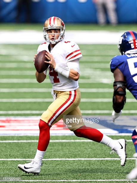 Nick Mullens of the San Francisco 49ers scrambles in the first quarter against the New York Giants at MetLife Stadium on September 27, 2020 in East...