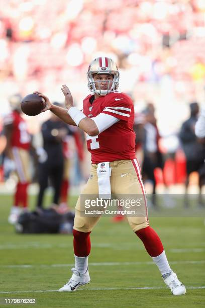 Nick Mullens of the San Francisco 49ers warms up before the game against the Cleveland Browns at Levi's Stadium on October 07, 2019 in Santa Clara,...