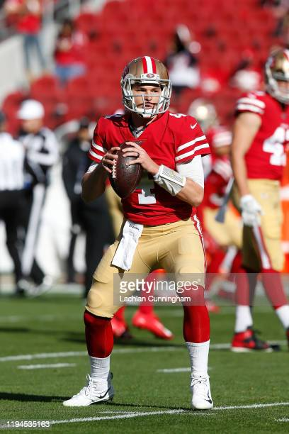 Nick Mullens of the San Francisco 49ers warms up before the game against the Atlanta Falcons at Levi's Stadium on December 15, 2019 in Santa Clara,...