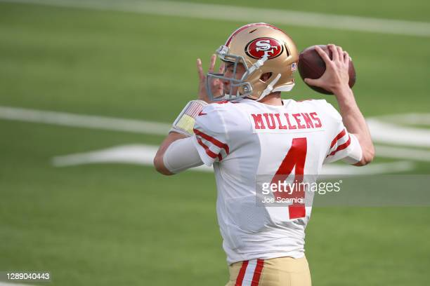 Nick Mullens of the San Francisco 49ers warms up before the game against the Los Angeles Rams at SoFi Stadium on November 29, 2020 in Inglewood,...