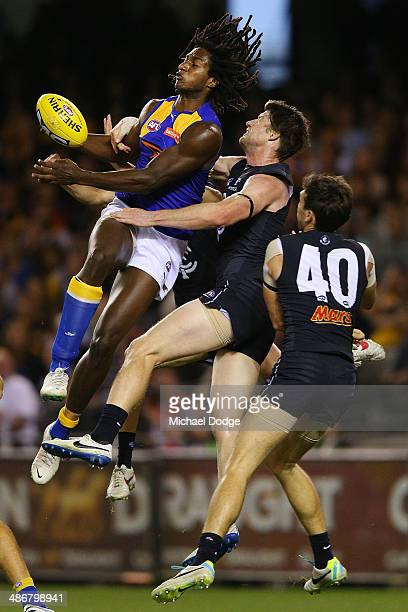 Nick Naitanui of the Eagles contests for the ball against Sam Rowe and Michael Jamison of the Blues during the round six AFL match between the...