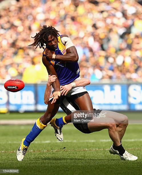 Nick Naitanui of the Eagles is tackled during the AFL First Qualifying match between the Collingwood Magpies and the West Coast Eagles at Melbourne...
