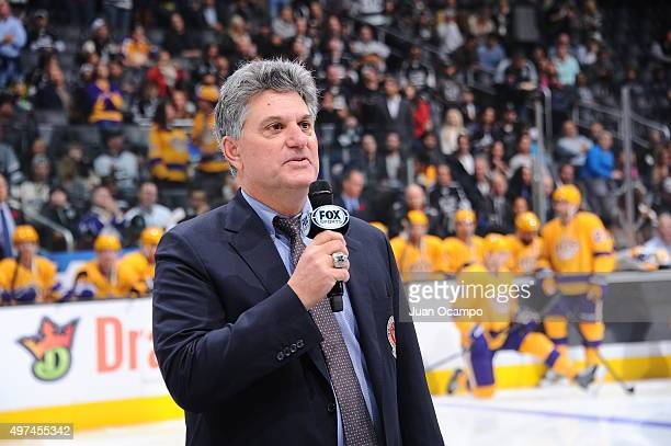 Nick Nickson speaks prior to the game between the Los Angeles Kings and the Arizona Coyotes after his induction into the Hockey Hall of Fame for his...