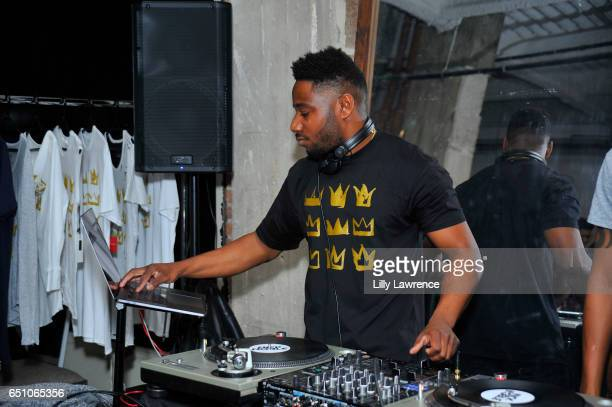 Nick Noble DJs at Karen Bystedt's 'Kings And Queens' exhibition on March 9 2017 in Los Angeles California