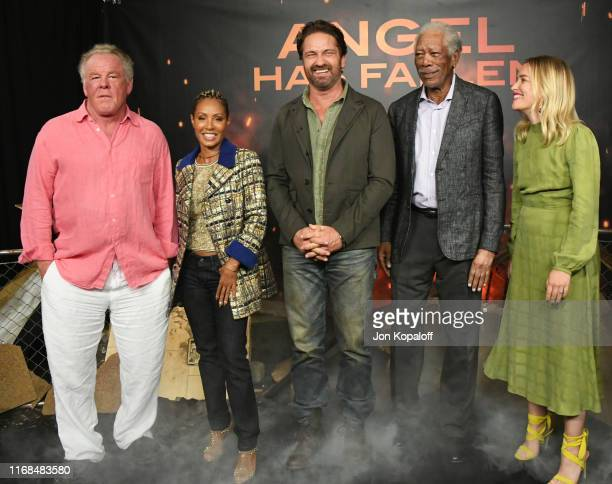Nick Nolte Jada Pinkett Smith Gerard Butler Morgan Freeman and Piper Perabo attend the Photocall For Lions Gate's Angel Has Fallen at the Beverly...