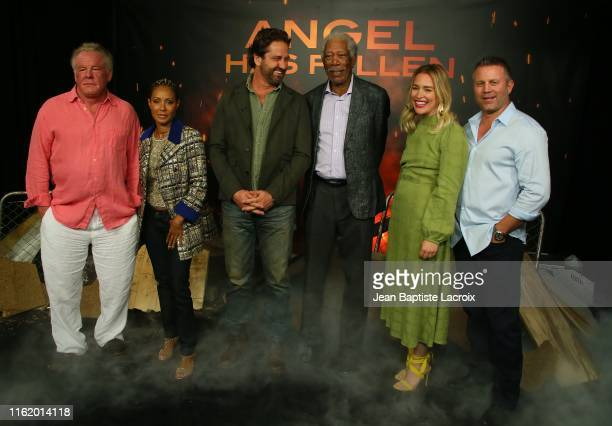 Nick Nolte Jada Pinkett Smith Gerard Butler Morgan Freeman Piper Perabo and Ric Roman Waugh attend a photocall for Lions Gate's Angel Has Fallen at...