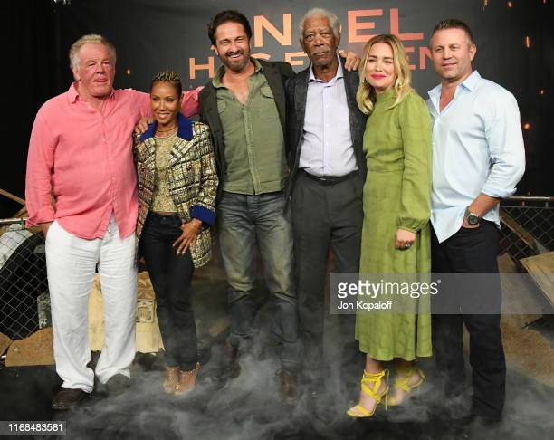 Nick Nolte Jada Pinkett Smith Gerard Butler Morgan Freeman Piper Perabo and Ric Roman Waugh attend the Photocall For Lions Gate's Angel Has Fallen at...