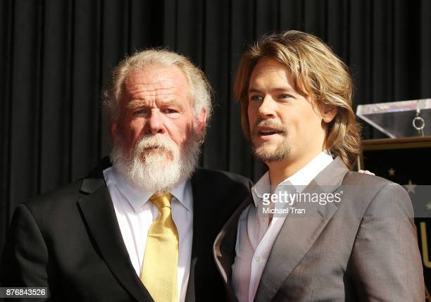 Nick Nolte with his son Brawley Nolte attend the ceremony honoring Nick Nolte with a Star on The Hollywood Walk of Fame held on November 20 2017 in...