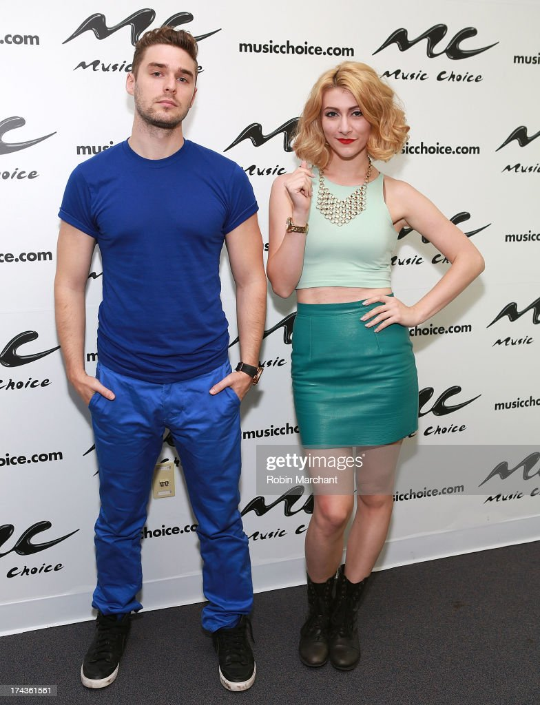 Nick Noonan (L) and Amy Heidemann of Karmin visit at Music Choice on July 24, 2013 in New York City.