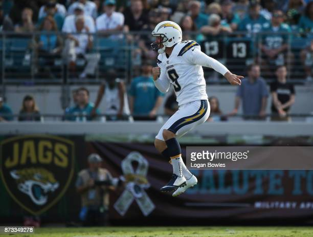 Nick Novak of the Los Angeles Chargers celebrates after he hit for a 50yard field goal in the second half of their game against the Jacksonville...