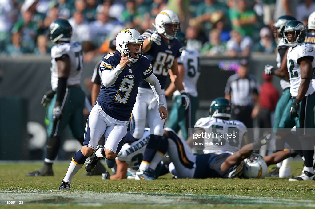 Nick Novak #9 of the San Diego Chargers celebrates his game winning field goal against the Philadelphia Eagles at Lincoln Financial Field on September 15, 2013 in Philadelphia, Pennsylvania. The Chargers won 33-30.