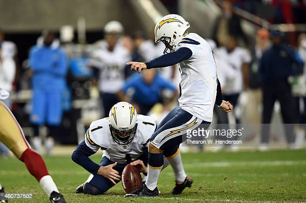Nick Novak of the San Diego Chargers kicks the winning 40-yard field goal in overtime to defeat the San Francisco 49ers 38-35 at Levi's Stadium on...