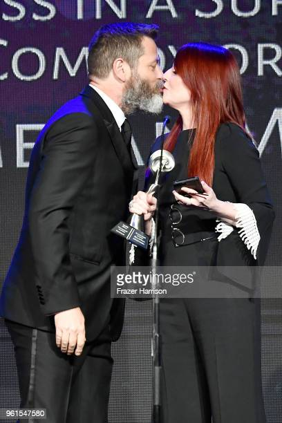Nick Offerman and Honoree Megan Mullally speak onstage at the 43rd Annual Gracie Awards at the Beverly Wilshire Four Seasons Hotel on May 22 2018 in...