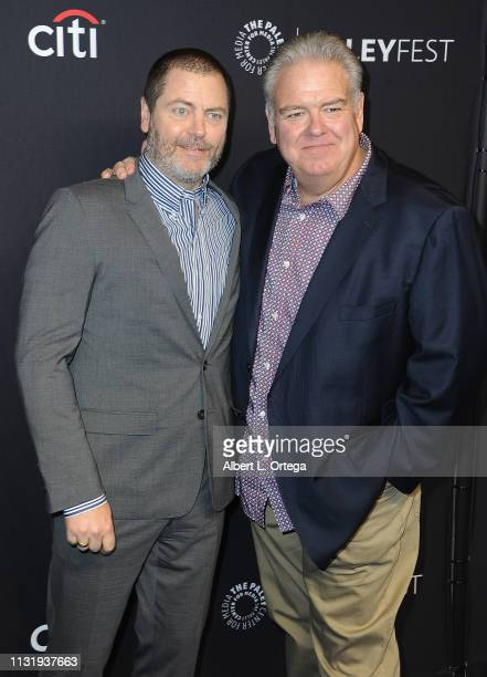 Nick Offerman and Jim O'Heir attend The Paley Center For Media's 2019 PaleyFest LA Parks And Recreation 10th Anniversary Reunion held at Dolby...