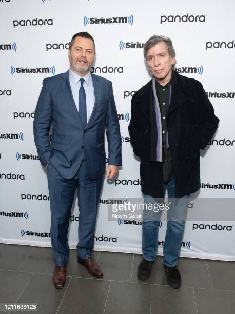 Nick Offerman and Kurt Loder visit the SiriusXM Studios on March 10 2020 in New York City