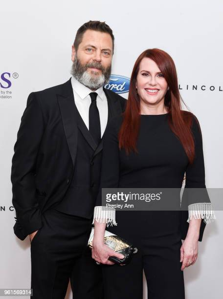 Nick Offerman and Megan Mullally arrive at the 43rd Annual Gracie Awards at the Beverly Wilshire Four SeasonsHotel on May 22 2018 in Beverly Hills...