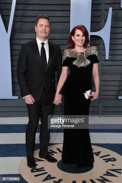 Nick Offerman and Megan Mullally attend the 2018 Vanity Fair Oscar Party hosted by Radhika Jones at Wallis Annenberg Center for the Performing Arts...