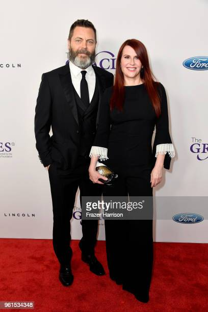 Nick Offerman and Megan Mullally attend the 43rd Annual Gracie Awards at the Beverly Wilshire Four Seasons Hotel on May 22 2018 in Beverly Hills...
