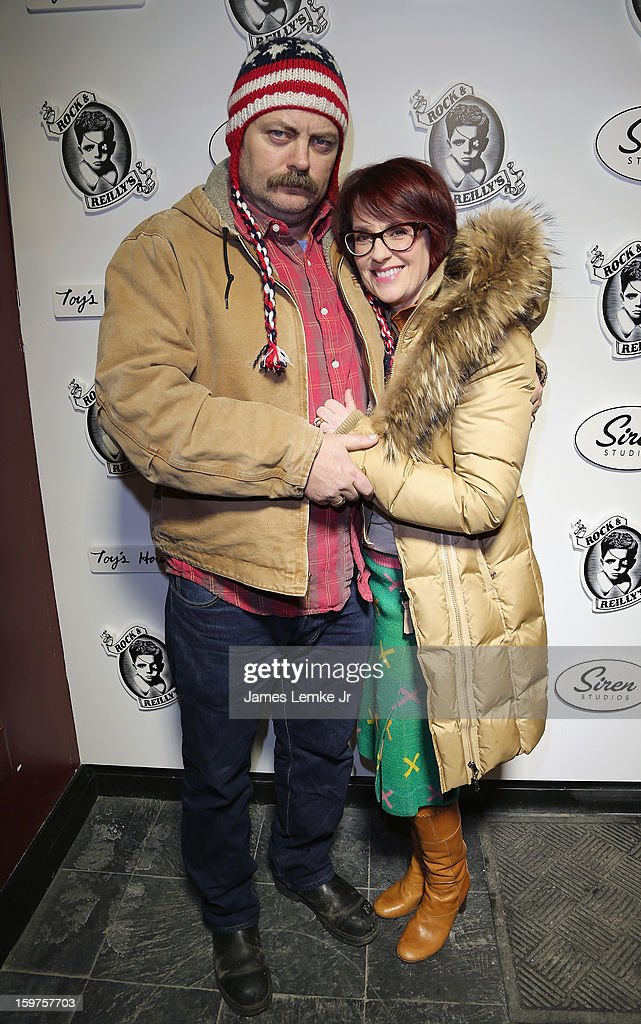Nick Offerman and Megan Mullally attend 'Toy's House' Official Cast After-Party Sponsored By Siren on January 19, 2013 in Park City, Utah.