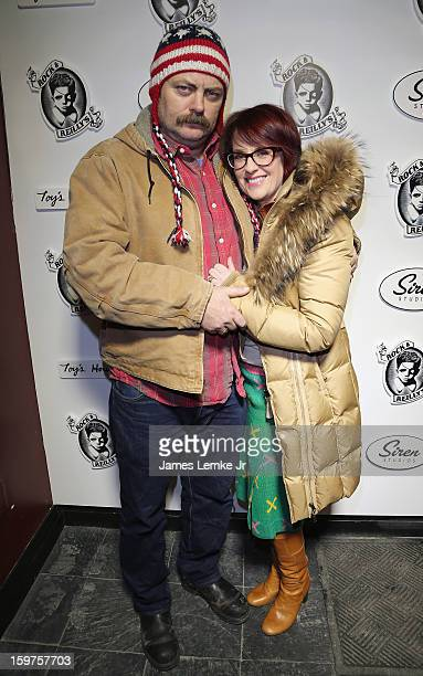 Nick Offerman and Megan Mullally attend 'Toy's House' Official Cast AfterParty Sponsored By Siren on January 19 2013 in Park City Utah