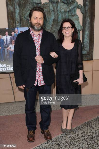 """Nick Offerman and Megan Mullally attends """"Parks And Recreation"""" EMMY Screening at Leonard Goldenson Theatre on May 23, 2011 in Hollywood, California."""