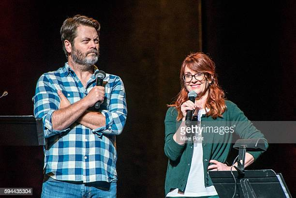 Nick Offerman and Megan Mullally perform during the 'Summer Of 69 No Apostrophe' tour at Beacon Theatre on August 23 2016 in New York City