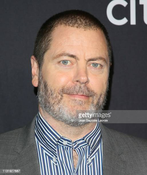 Nick Offerman attends the Paley Center For Media's 2019 PaleyFest LA Parks And Recreation 10th Anniversary Reunion held at the Dolby Theater on March...