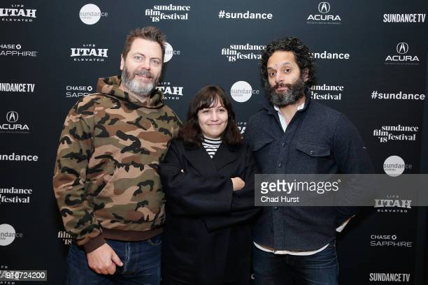 Nick Offerman Hannah Fidell and Jason Mantzoukas attend the Cinema Cafe during 2018 Sundance Film Festival at Filmmaker Lodge on January 26 2018 in...