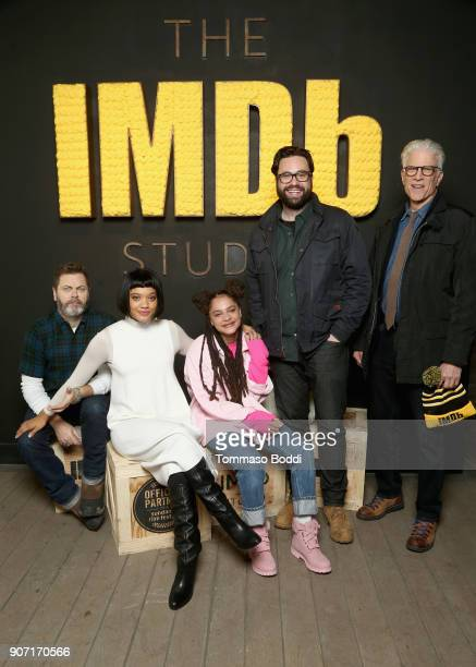 Nick Offerman Kiersey Clemons Sasha Lane Brett Haley and Ted Danson from 'Hearts Beat Loud' attend The IMDb Studio and The IMDb Show on Location at...
