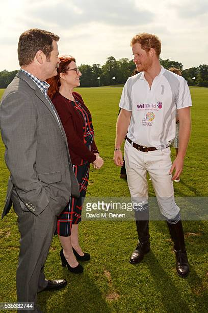 Nick Offerman Megan Mullally and Prince Harry attend day two of the Audi Polo Challenge at Coworth Park on May 29 2016 in London England