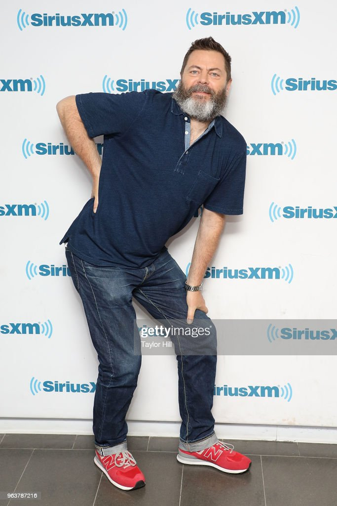 Nick Offerman visits the SiriusXM Studios on May 30, 2018 in New York City.