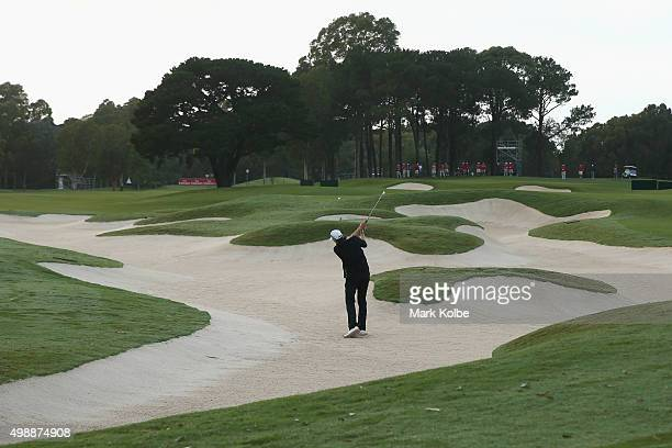 Nick O'Hearn of Australia plays a bunker shot on the 10th hole during day two of the Australian Open at the Australian Golf Club on November 27 2015...