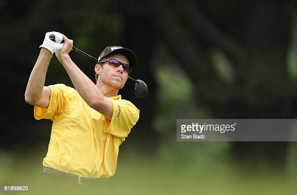 Nick O'Hern hits from the second tee box during the final round of the ATT National held on the Blue Golf Course at Congressional Country Club on...